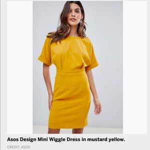ASOS mini wiggle dress Mustard yellow